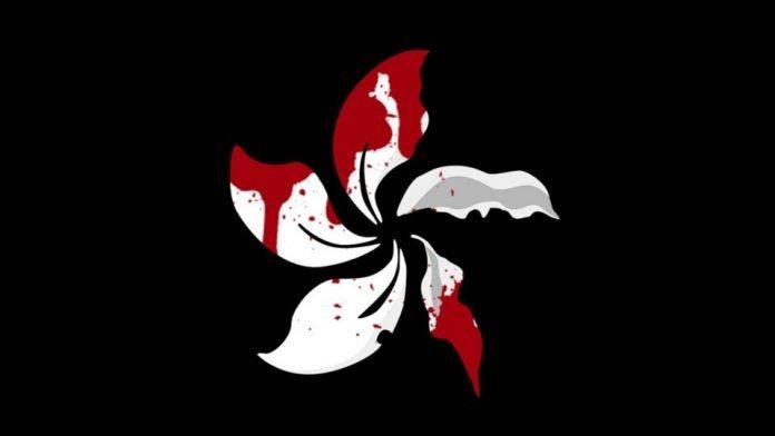 Bandiera indipendente di Hong Kong macchiata di sangue