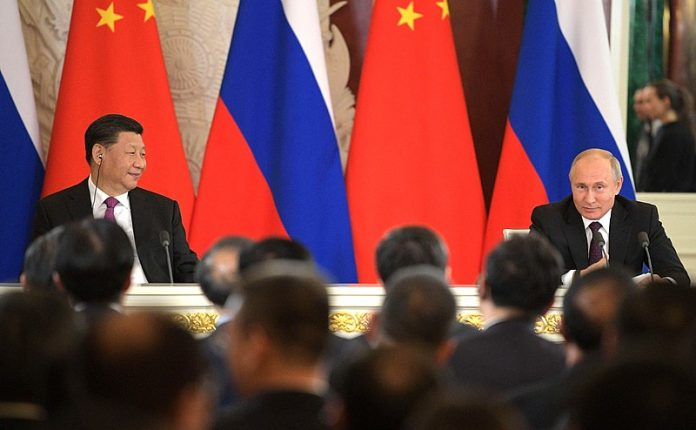 Dichiarazione alla stampa il 05/06/2019 a seguito dei colloqui tra la Russia e la Cina [Crediti foto: Ufficio stampa e informazione del governo russo CC BY 4.0*]